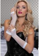 Elbow Fishnet Gloves - White - Os